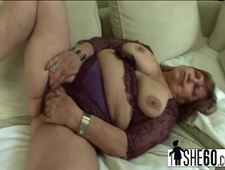 BBW granny having affair with son in law loving his hard big cock teasing her hairy fat pussy