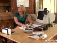 Squirting office slut gets fingered