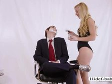 Hot blonde babe Kayden gets pounded by Lilys strap on dildo