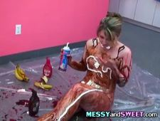 Babe Aria Covers Herself In Chocolate