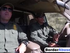 Pale cutie gags on hard dick and gets abused in border patrol s van