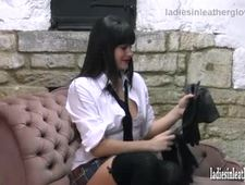 Hot naughty schoolgirl discovers the feel of her butter soft leather gloves around her big boobs