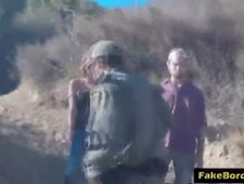 Redhead Latina awesome gagging blowjob with fake border officer