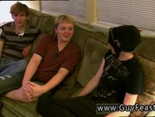 Blond teen handsome locker gay Aron Kyle and James are draping out on