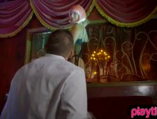 Strip dancer chick with pink hair fucked by a guest