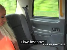 Huge tits lesbians fucking in fake taxi