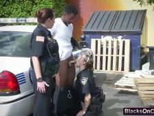 Cops take black stud throbbing cock outdoors