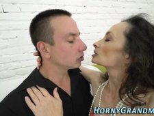 Jizz soaked granny toyed