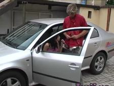 Red bra blowjob xxx Michelle boned on the spandex hood of a car