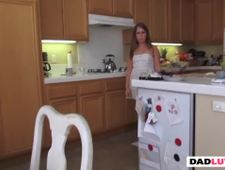 Petite teen stepdaugher got her cunt intruded on the kitchen table