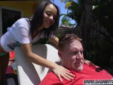 Petite blonde girl with braces Holly Hendrix Has Some Fun With Her Dad s