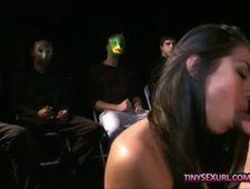 Kinky women fucked by one lucky guy surrounded by the others